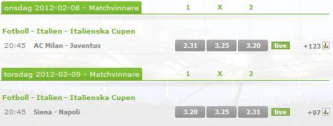odds italienska cupen